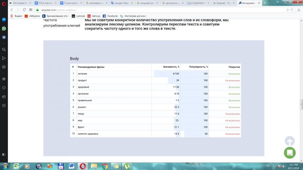 Обзор текстовой аналитики в SeoQuick